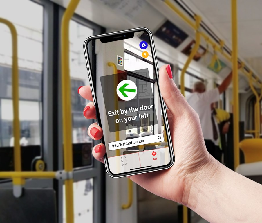 Visually impaired announcement leave tram